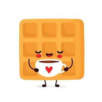 Bonito feliz engraçado waffle belga beber café. desenho animado personagem ilustração ícone do design.