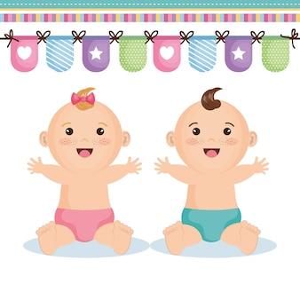 Bonito, feliz, menina bebê, e, menino, com, bandeira decorativa