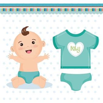Bonito, feliz, menino bebê, com, azul, fralda, e, cerceta, roupa