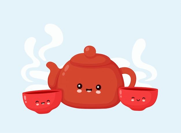 Bonito feliz sorridente bule e chá taças. design plano ilustração personagem dos desenhos animados. isolado no fundo branco. bule, tigelas, conceito de cerimônia do chá