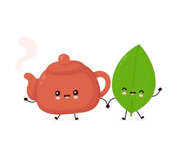 Bonito feliz sorridente bule e folha de chá.