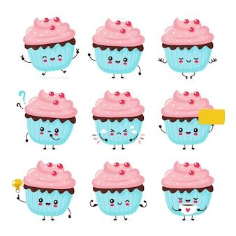 Bonito feliz sorridente cupcake conjunto de coleção. ilustração plana personagem de desenho animado. isolado no fundo branco. bolinho, bolo, sobremesa menu pacote conceito