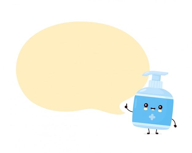 Bonito feliz sorridente garrafa anti-séptica com bolha do discurso. desenho animado personagem ilustração ícone do design. isolado no fundo branco