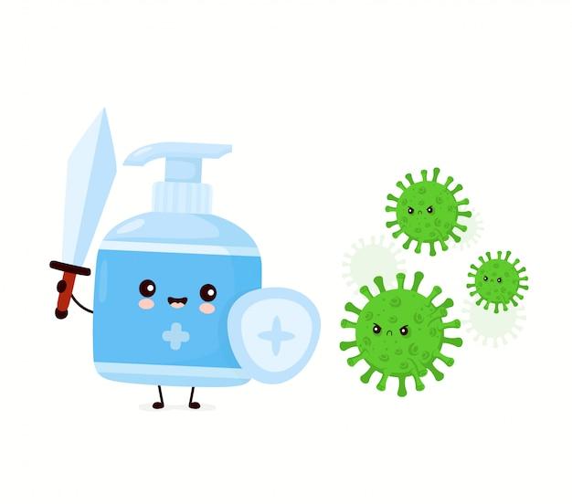 Bonito feliz sorridente garrafa anti-séptica luta com vírus.