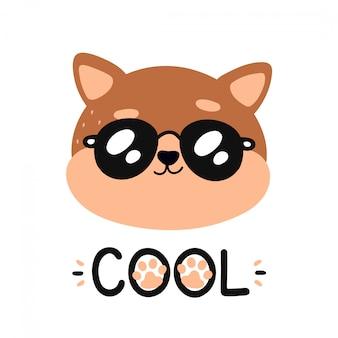 Bonito feliz sorridente gato legal em óculos de sol