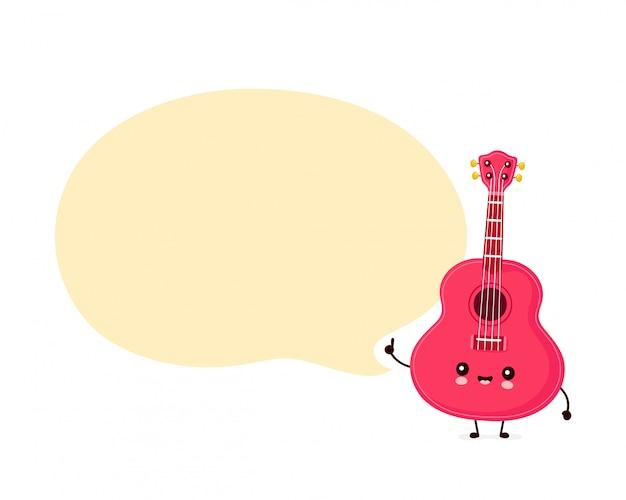 Bonito feliz sorridente guitarra ukulele com bolha do discurso. design plano ilustração personagem dos desenhos animados. isolado no fundo branco. guitarra ukulele, conceito de mascote de música