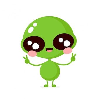 Bonito feliz sorridente personagem alienígena amigável mostra sinal de paz. cartoon plana ilustração ícone do design. isolado no fundo branco conceito de personagem alienígena