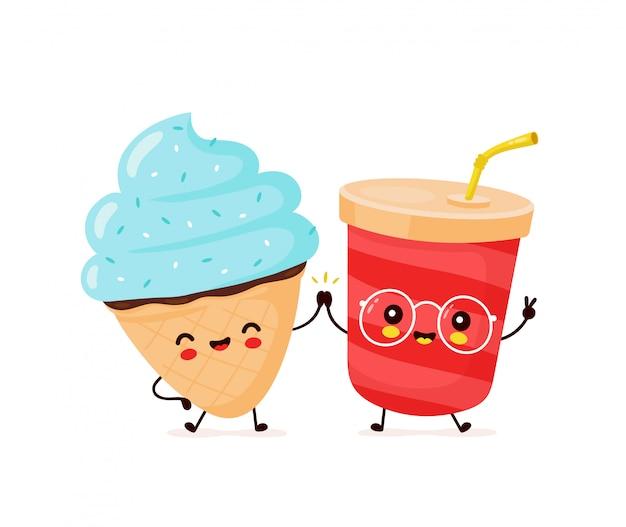 Bonito feliz sorridente sorvete casquinha e copo de refrigerante.
