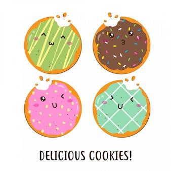 Bonito feliz vário sabor de desenho vetorial de cookies