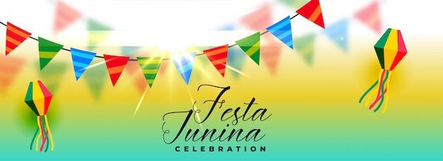Bonito festa junina celebração banner design