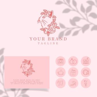 Bonito floral cat elegant line art modelo editável de logotipo