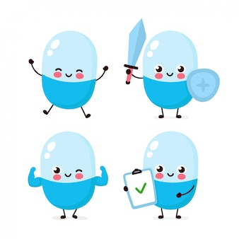 Bonito forte feliz sorridente comprimido conjunto de caracteres coleção. conceito de personagem de pílula