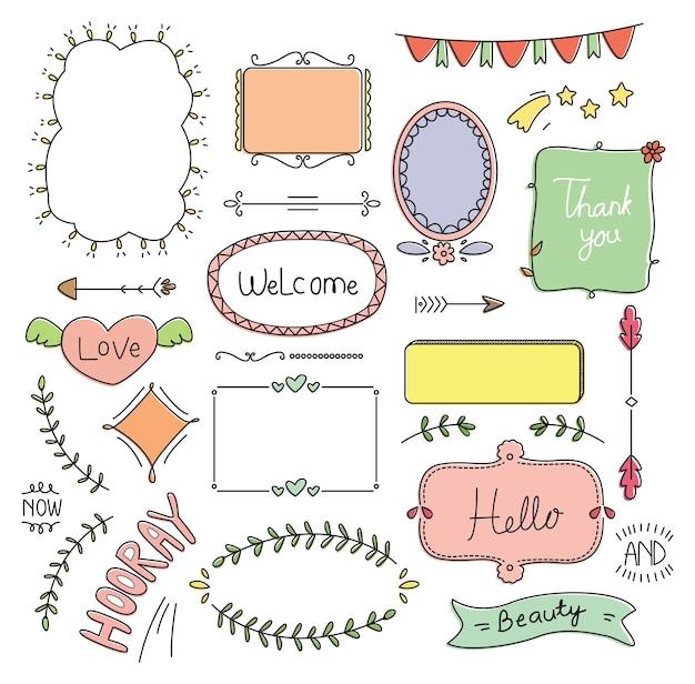 Bonito fronteira e quadro doodle conjunto