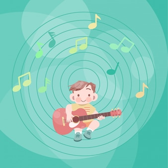 Bonito garoto feliz jogar fantasia de ilustração de vetor de guitarra de música