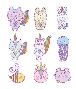 Bonito gato esquilo rato água-viva abelha coelho fantasia arco-íris cartoon ilustração