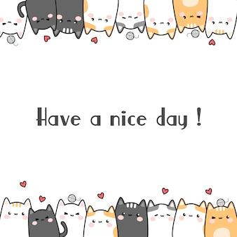 Bonito gato gatinho família dos desenhos animados doodle cartão