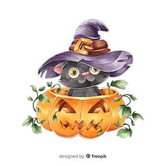 Bonito gato preto de halloween em aquarela com chapéu de bruxa