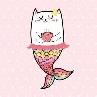 Bonito, gato, sereia, doce, menina, cor pastel
