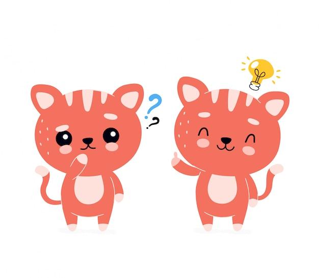 Bonito gato sorridente feliz com ponto de interrogação e personagem de lâmpada.