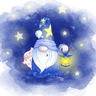Bonito gnomo com sono em um chapéu com asteriscos e com uma lanterna nas mãos vai dormir.