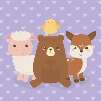 Bonito grupo de personagens de fazenda de animais
