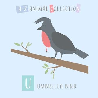 Bonito guarda-chuva dos desenhos animados doodle animal alfabeto u