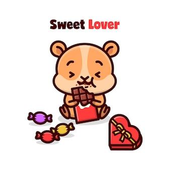 Bonito hamster que come chocolate de valentim e se sente tão feliz.
