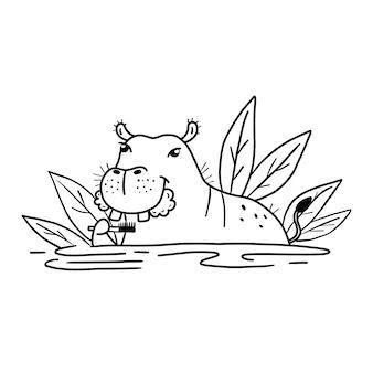 Bonito hipopótamo escovando os dentes. gráficos engraçados de animais vetoriais em preto e branco