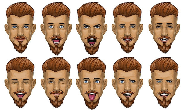 Bonito homem barbudo com várias expressões faciais