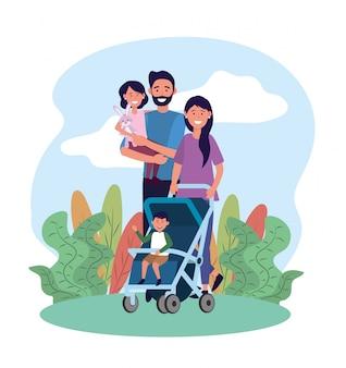 Bonito homem e mulher com sua filha e filho