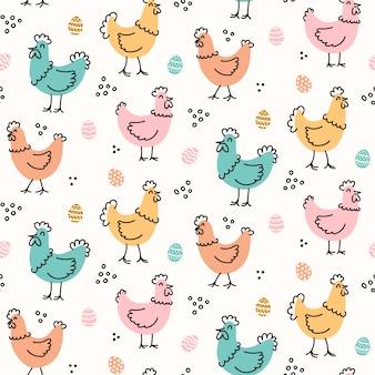 Bonito infantil galinhas e ovos padrão para a páscoa
