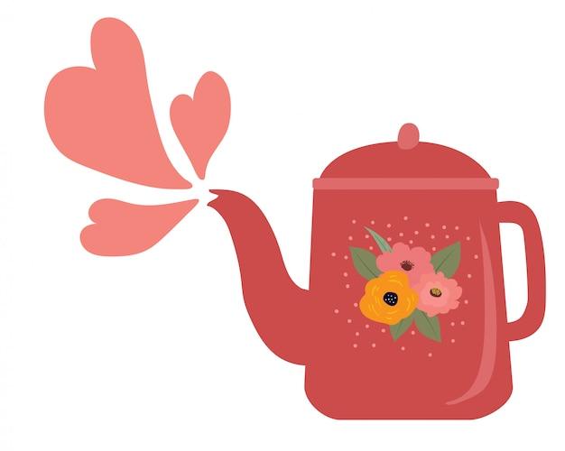 Bonito jarro vintage ou bule com forma de coração de seu bico
