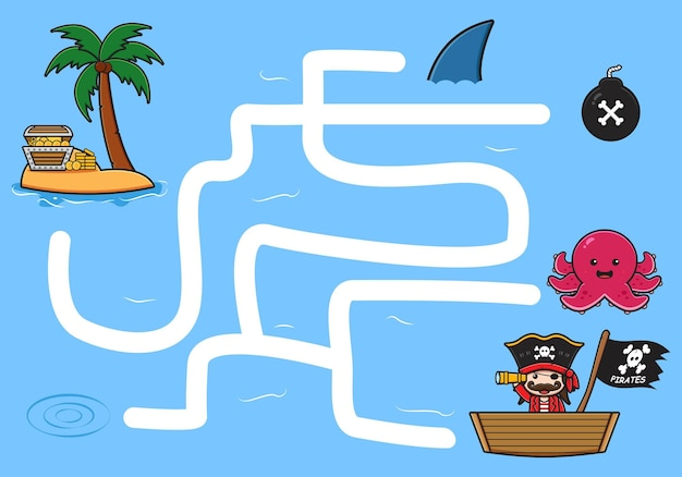 Bonito jogo de labirinto de piratas para crianças doodle ilustração dos desenhos animados design plano dos desenhos animados