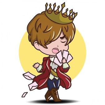 Bonito jovem príncipe dos desenhos animados, conceito de desenho animado de conto de fadas.
