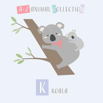 Bonito koala cartoon doodle animal alfabeto k