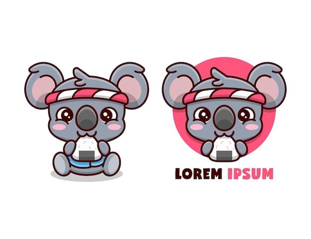 Bonito koala comendo onigiri e usando mascote de desenho animado