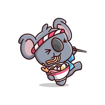Bonito koala mostrando rosto feliz enquanto come macarrão de ramen. mascote dos desenhos animados