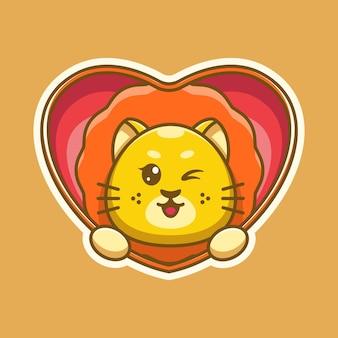 Bonito leão rei pop-up do desenho do coração