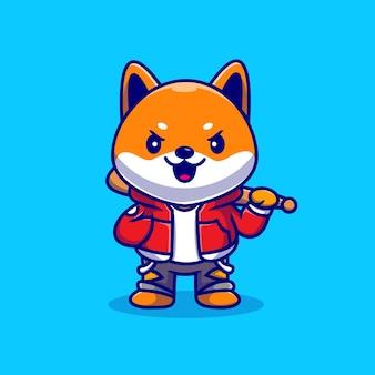 Bonito legal shiba inu cão segurando bastão de beisebol dos desenhos animados ícone ilustração vetorial. conceito de ícone do esporte animal isolado vetor premium. estilo flat cartoon