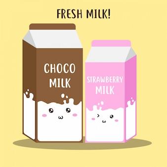 Bonito leite fresco feliz no design de vetor de pacote de caixa