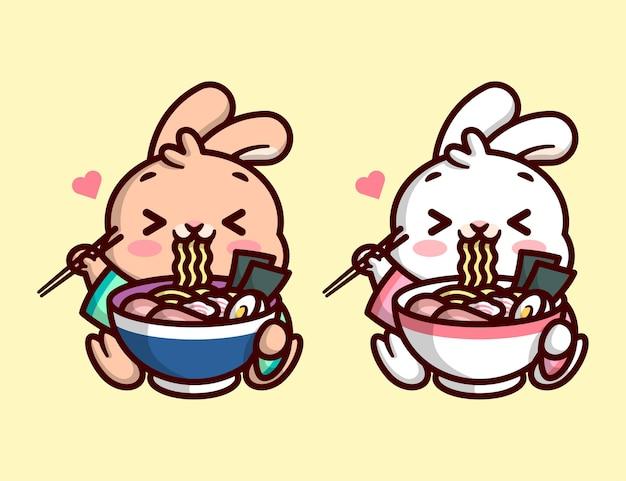 Bonito little bunny está comendo uma grande taça de macarrão ramen e sentindo-se encantador em duas opções de cores desenho de mascote de alta qualidade de desenho animado