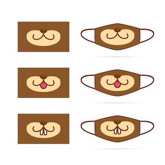 Bonito lontra animal dos desenhos animados boca máscara facial cenografia