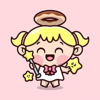 Bonito louro anjo pequeno com anel de donut em sua cabeça e segurando um desenho de personagem de personagem de vara estrela mágica