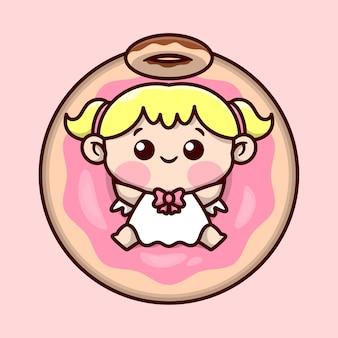 Bonito louro anjo pequeno com anel de donut em sua cabeça está sentado em um design de personagem de big donut cartoon