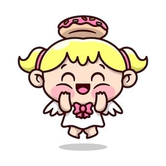 Bonito louro pequeno ângulo com anel de donut na cabeça sentindo tão feliz e sorridente desenho de personagem dos desenhos animados