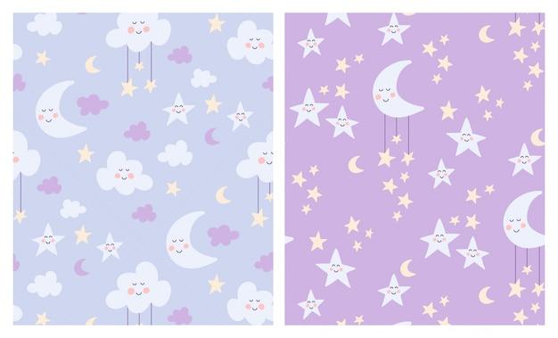 Bonito lua, nuvens e estrelas conjunto de padrões sem emenda