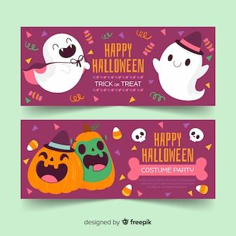 Bonito mão desenhada banners de halloween com fantasma e abóbora