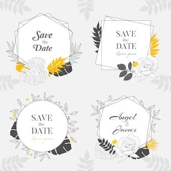 Bonito mão desenhada cartão de moldura de casamento floral