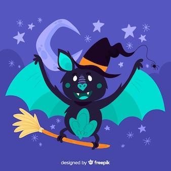 Bonito mão desenhada de morcego halloween