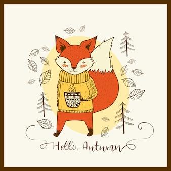 Bonito mão desenhada doodle raposa com cartão do copo. olá outono